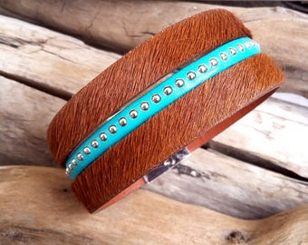 Bracelet leather cuff Iris bown and turquoise Boho jewelry By Dodie