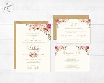Floral Wedding Invitation Printable Wedding Invitation Suite Invite Gold Foil Typography Invite Set Bohemian Peony Invites Boho Chic Wedding