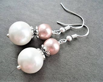 Sterling Silver Pearl Earrings Wedding Jewelry Bridesmaid Gift White Pearl Jewelry Dangle Earrings Pink Jewelry Silver Earrings Gift For Her