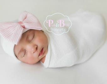 Newborn baby Bow, hospital hat with bow for Baby Girl, newborn Hat, newborn beanie for girls, newborn bow for baby girl