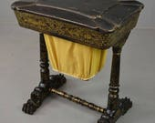 Chinoiserie Chinese Black Laquer Work Table Sewing Tidy Box