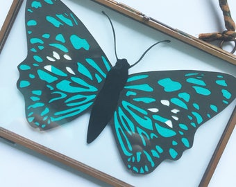 Turquoise Butterfly Papercut in Vintage Frame