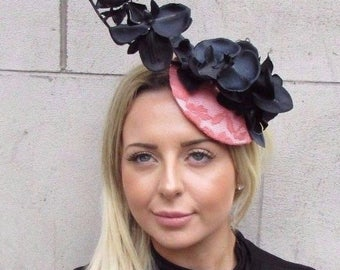 Black Coral Peach Pink Orchid Flower Fascinator Hat Wedding Hair Clip Races 3132