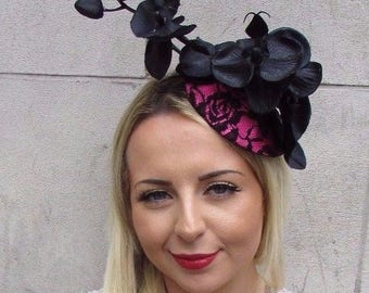 Black Hot Pink Orchid Flower Fascinator Hat Wedding Hair Races Headband Vtg 3154