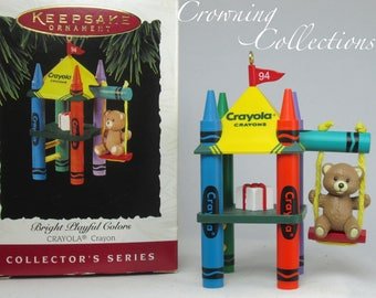 1994 Hallmark Bright Playful Colors Keepsake Ornament Crayola Crayons #6 Series Christmas Teddy Bear Swing Set Playground Play Fort Kids