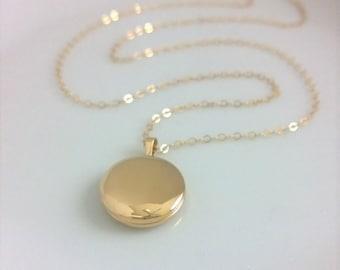 14Kt gold-filled locket; smooth gold locket; simple round locket; picture locket gold