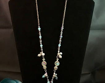 Sky Blue Flower Necklace and Earrings