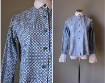 1960s Button up Blue Psychedelic Blouse
