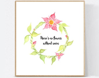 Pink and Orange flower quote craft, project, cute quote template, wreath, leafs, spring, summer, wall decor, Essie Lee