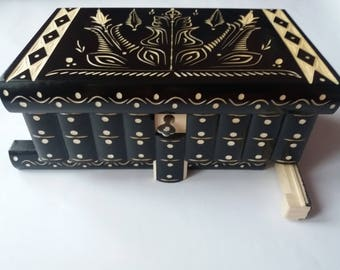 Huge black wooden puzzle box jewelry box,magic box, brain teaser mystery box,secret box,tricky box,carved wooden box,perfect gift,wooden toy