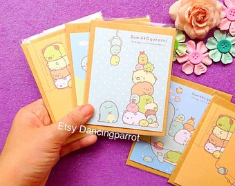 Sumikko Gurashi cards San-x cards Kawaii cards Kawaii stationery Shirokuma Tonkatsu Neko cards Kawaii Japan stationery San-X stationery