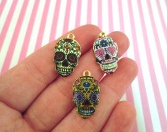 """3 Sugar Skull Day of the Dead Enamel Charms, """"Dia de los Muertos"""" Charms #1077"""