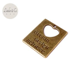 Dream 30x24mm brass Heart Locket pendant * md3 33 *.