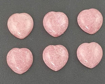 Rhodonite Heart Cabochon, 15x15mm, calibrated, pink cab, rhodonite, rhodonite cab, rhodonite cabochon, pink stone, small cab, pink heart