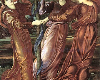"Edward Jones ""The Garden of the Heserides"" 1877 Reproduction Digital Print  Wall Hanging Serpent Greek Roman Mythology"