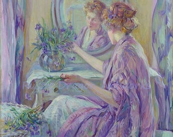 "Robert L Reid ""The Violet Kimono"" 1911 Woman in Front of a Mirror Arranging Flowers in a Vase Reproduction Digital Print  Wall Home Decor"