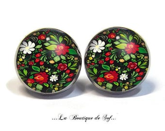 Stud Earrings with cabochon 12 mm * flowers * (260117)