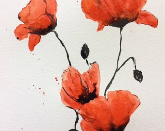 Watercolor painting, poppies painting, original watercolor painting, flower painting, gift