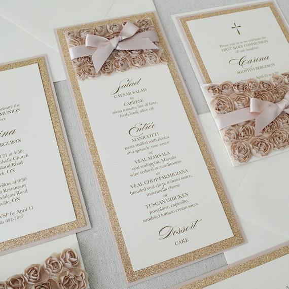 Rosette Menu - Champagne Rosette Menu - Rose Gold Glitter Menu- Blush Menu - Vertical Menu