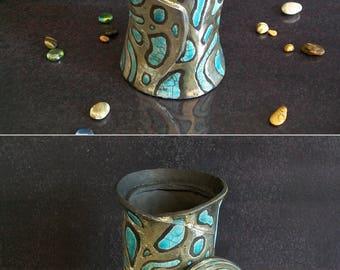 Raku ceramic Jar with lid, lidded jar, ceramic canister with lid, raku jar, decorative jar, lidded pot, personalized jar, sugar bowl