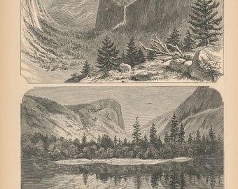 1881 Yosemite National Park, Yosemite Valley California Antique Print