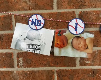 Baseball Photo Banner... Monthly Banner... First Birthday... Baby Boy