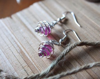 Silver Plated Agate Spiral Cage Earrings