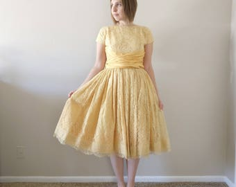 1950s Yellow Lace Party Dress/50s Dress/X-Small