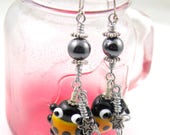 Yellow Ladybug Wire Wrapped Dangle Earrings Handmade Lampwork Beads Cute Pair of Handmade Beaded Earrings