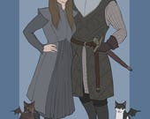 Game of Thrones custom couple, family or 1 person portrait! | Game of Thrones gift, art, geek valentines, geek wedding, got christmas.