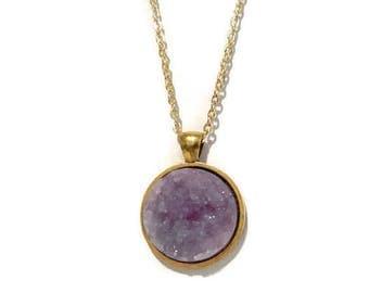 Druzy Necklace   Druzy pendant   Crystal necklace   simple necklace   bridesmaid necklace   Bridesmaid gift