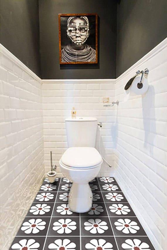 clearance vinyl floor tile sticker floor decals carreaux ciment encaustic marguerite tile. Black Bedroom Furniture Sets. Home Design Ideas