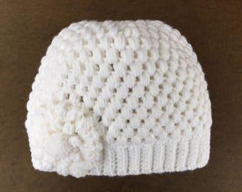 READY TO SHIP/Messy Bun Hat/White/Valentine's Day/Crochet/Knit Hat/Beanie/Flower/Ponytail Hat/Thick Chunky/Girls/Adult/Women/Ski Hat/Toque