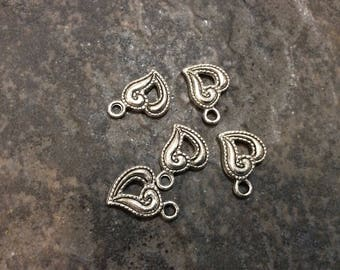 Silver Sideways Heart Charms Package of 5 Valentines Day charms or pendants Small Heart Charms