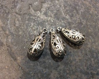 """Teardrop Filigree Pendant Charms Shiny Silver Scroll Design Pendant Charms Package of 3 charms 1"""" long"""