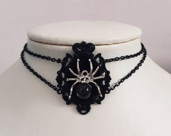 Cameo Choker Necklace Spider Choker Black grunge Collar