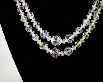 Vintage Crystal Aurora Borealis Two Strand Necklace Faceted Clear Crystal Beads Special Occasion Necklace AB Necklace