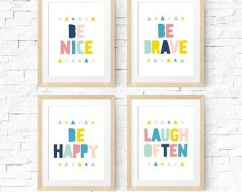 Nursery decor, Art print set, Nursery prints, Poster printable, Be nice, Be happy sign, Be brave print, Set of 4 prints, Kids room decor