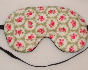 Handmade Sage Green Floral Cotton Sleep Eye Mask Blindfold Blackout Migraine