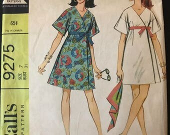 McCalls 9275 - 1960s Easy to Sew Front Wrap Dress in Knee or Mini Length - Size 7 Bust 31