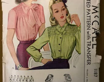 McCall 1187 - 1940s Smocked Button Front Blouse with Frill Collar - Size 18 Bust 36