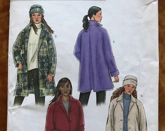 Butterick B4352 - Loose Fitting Unlined Jacket with Button Front in Two Lengths and Hat - Size L XL