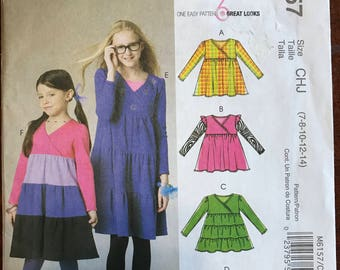 McCalls M6157 - Girl's Surplice Bodice and Slightly Flared Dress or Top with Contrast Fabric Tiers Option - Size 7 8 10 12 14