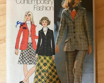 Simplicity 5212 - 1970s Young Contemporary Fashion Jacket with Wide Notched Collar, A Line Skirt in Knee or Maxi Length and Pants - Size 14