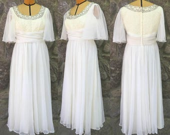 Vintage 70s Mike Benet Formals White Chiffon Dress w/ Sequined Bodice & Flutter Sleeves / Made in the USA / Large to Extra Large / L - XL