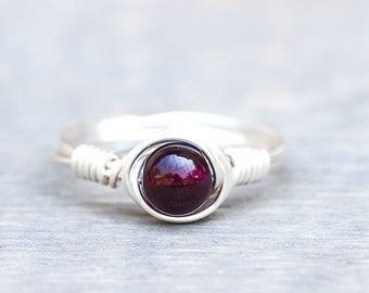 Meditation Ring - Garnet Ring - Wine Red Ring - Dainty Garnet Ring - Birthstone Ring - Gemstone Ring - Dainty Stone Ring