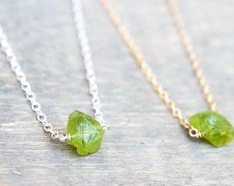 Raw Peridot Jewelry - Raw Peridot Necklace - August Birthstone - Raw Green Peridot - Peridot Necklace - Raw Peridot - Birthstone Necklace