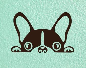 Peeking Dog Decal | Peeking French Bulldog Decal | Peeking Boston Terrier Decal  | Frenchie Decal | Boston Terrier Decal | Car Decal
