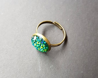 Mermaid Ring, Mermaid Jewelry, Statement Ring, Adjustable, Festival Jewelry, Green Ring, Costume Jewelry