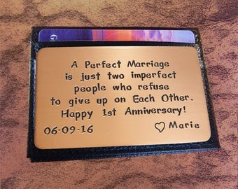 Anniversary Gift - 1st Year Anniversary - Rustic Copper - Wallet Insert Card- Copper Wallet Insert - Love Reminder Card- Cool Mens Gift